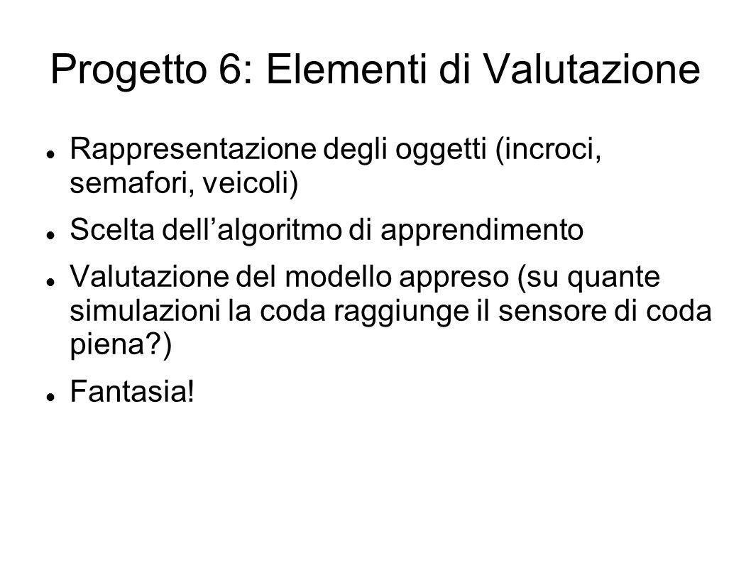 Progetto 6: Elementi di Valutazione Rappresentazione degli oggetti (incroci, semafori, veicoli) Scelta dellalgoritmo di apprendimento Valutazione del