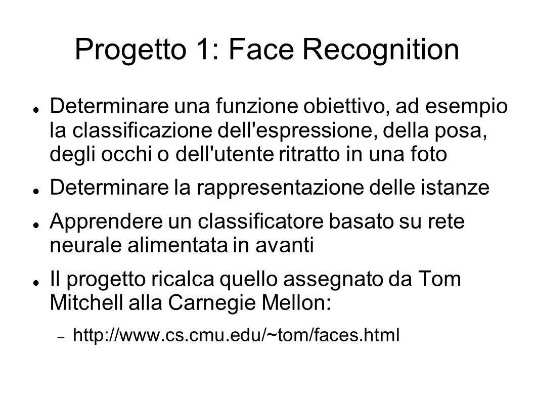 Progetto 1: Face Recognition Determinare una funzione obiettivo, ad esempio la classificazione dell'espressione, della posa, degli occhi o dell'utente