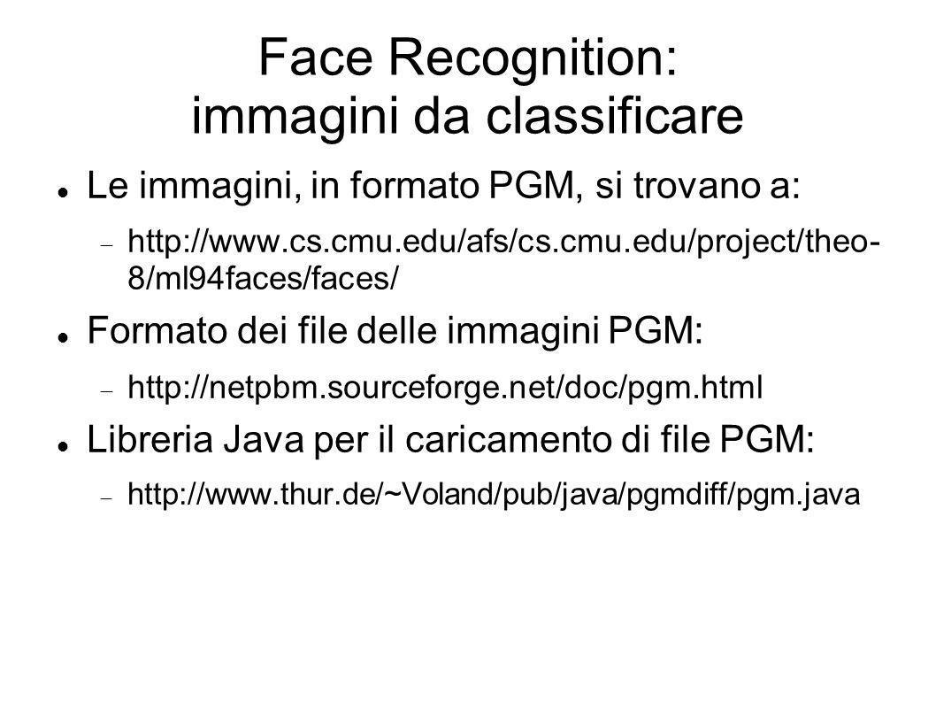 Face Recognition: immagini da classificare Le immagini, in formato PGM, si trovano a: http://www.cs.cmu.edu/afs/cs.cmu.edu/project/theo- 8/ml94faces/faces/ Formato dei file delle immagini PGM: http://netpbm.sourceforge.net/doc/pgm.html Libreria Java per il caricamento di file PGM: http://www.thur.de/~Voland/pub/java/pgmdiff/pgm.java