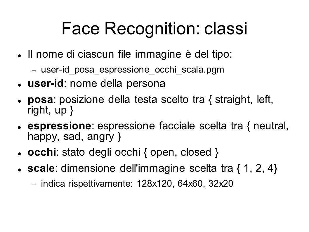Face Recognition: classi Il nome di ciascun file immagine è del tipo: user-id_posa_espressione_occhi_scala.pgm user-id: nome della persona posa: posizione della testa scelto tra { straight, left, right, up } espressione: espressione facciale scelta tra { neutral, happy, sad, angry } occhi: stato degli occhi { open, closed } scale: dimensione dell immagine scelta tra { 1, 2, 4} indica rispettivamente: 128x120, 64x60, 32x20