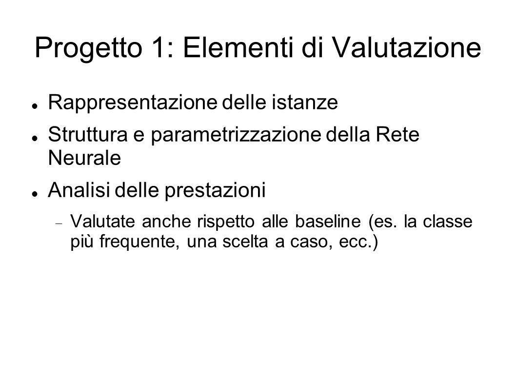 Progetto 1: Elementi di Valutazione Rappresentazione delle istanze Struttura e parametrizzazione della Rete Neurale Analisi delle prestazioni Valutate anche rispetto alle baseline (es.