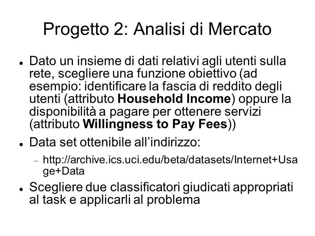 Progetto 2: Analisi di Mercato Dato un insieme di dati relativi agli utenti sulla rete, scegliere una funzione obiettivo (ad esempio: identificare la