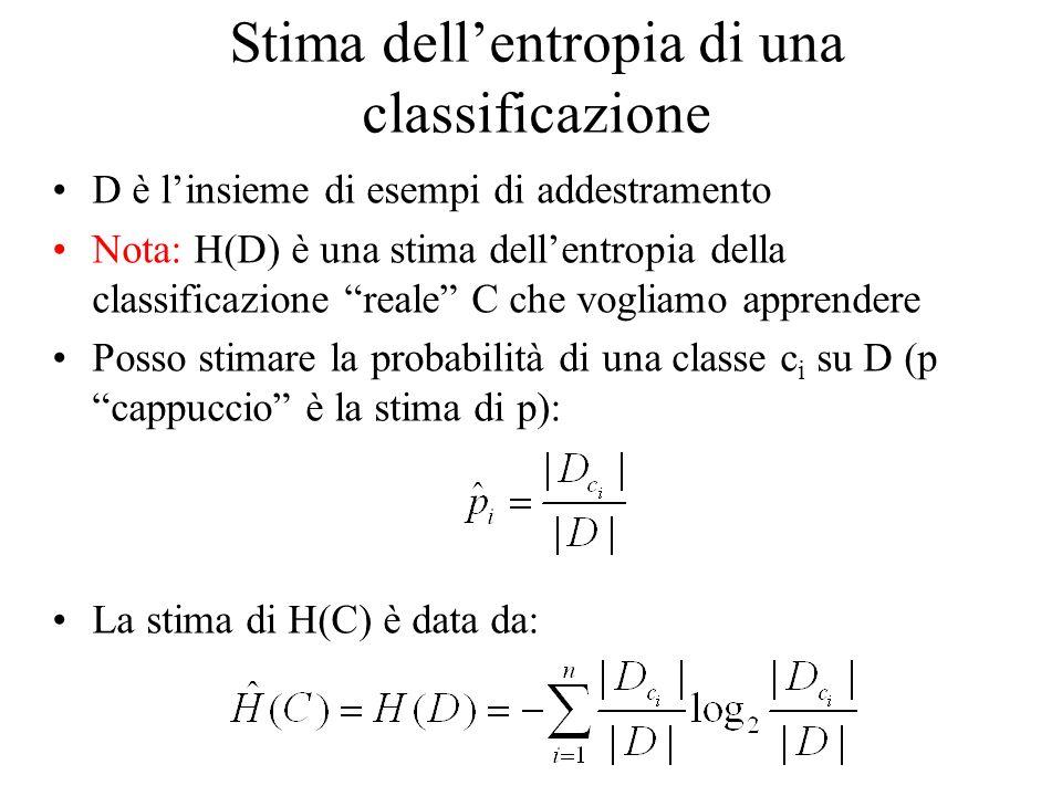 Stima dellentropia di una classificazione D è linsieme di esempi di addestramento Nota: H(D) è una stima dellentropia della classificazione reale C che vogliamo apprendere Posso stimare la probabilità di una classe c i su D (p cappuccio è la stima di p): La stima di H(C) è data da: