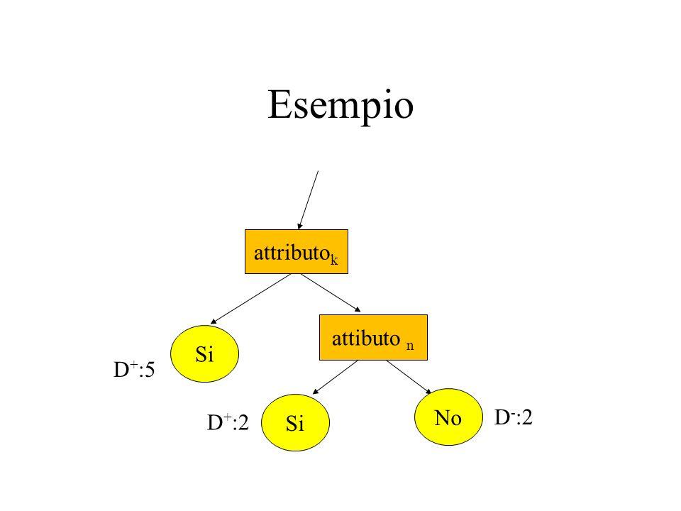 Esempio attibuto n Si No D + :5 D + :2 D - :2 attributo k