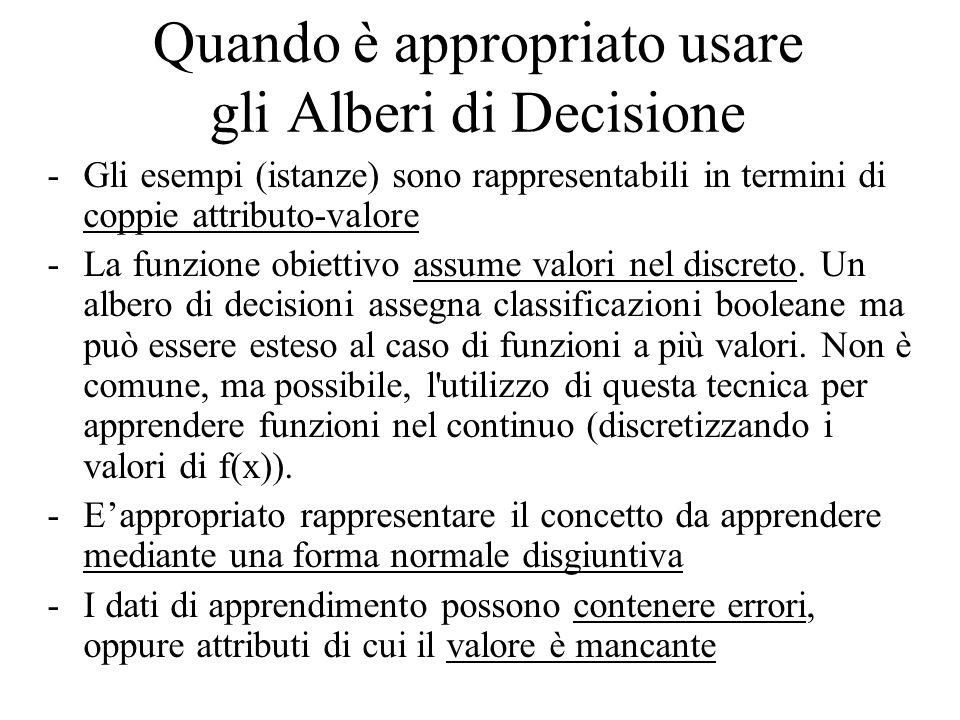 Quando è appropriato usare gli Alberi di Decisione -Gli esempi (istanze) sono rappresentabili in termini di coppie attributo-valore -La funzione obiettivo assume valori nel discreto.