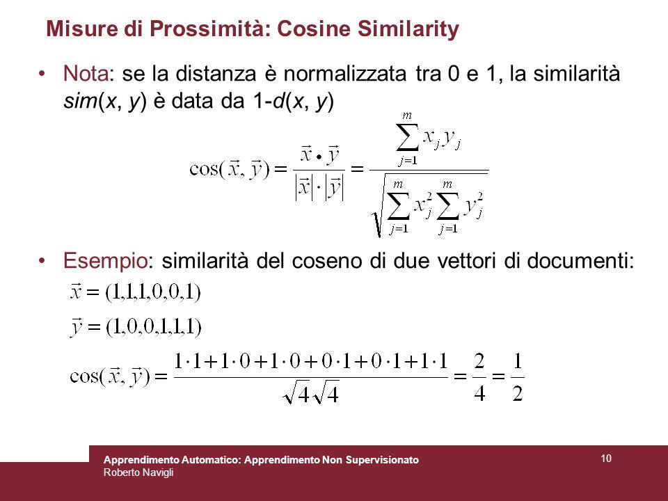 Apprendimento Automatico: Apprendimento Non Supervisionato Roberto Navigli 10 Misure di Prossimità: Cosine Similarity Nota: se la distanza è normalizz