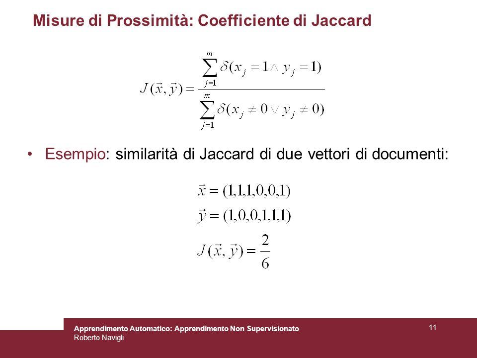 Apprendimento Automatico: Apprendimento Non Supervisionato Roberto Navigli 11 Misure di Prossimità: Coefficiente di Jaccard Esempio: similarità di Jac