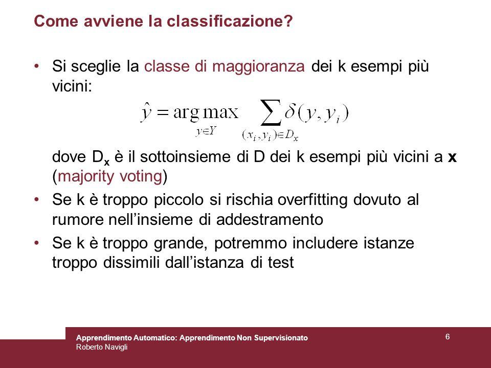 Apprendimento Automatico: Apprendimento Non Supervisionato Roberto Navigli 6 Come avviene la classificazione? Si sceglie la classe di maggioranza dei