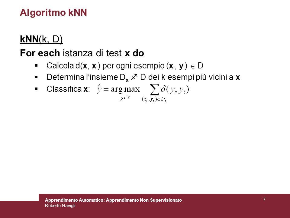 Apprendimento Automatico: Apprendimento Non Supervisionato Roberto Navigli 7 Algoritmo kNN kNN(k, D) For each istanza di test x do Calcola d(x, x i )