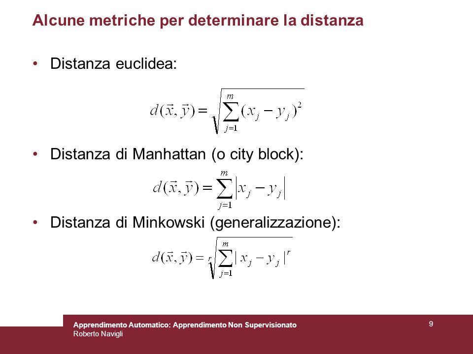 Apprendimento Automatico: Apprendimento Non Supervisionato Roberto Navigli 9 Alcune metriche per determinare la distanza Distanza euclidea: Distanza d