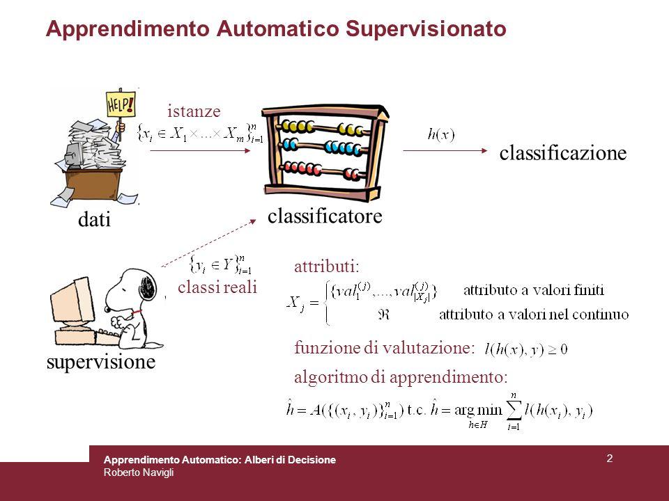 Apprendimento Automatico: Alberi di Decisione Roberto Navigli 53 Esempio: classificatore di uccelli Rappresentazione: (temperatura, partorisce, vola) Training set: –((F, 0, 0), 0) es.