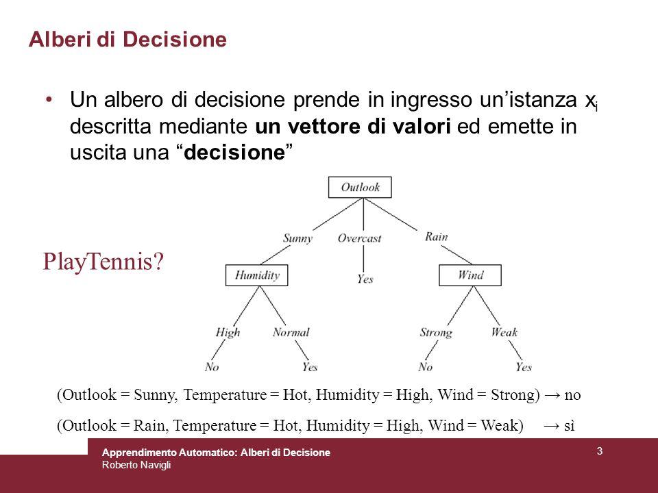Apprendimento Automatico: Alberi di Decisione Roberto Navigli 54 Esempio: classificatore di uccelli Rappresentazione: (temperatura, partorisce, vola) Training set: –((F, 0, 0), 0) es.