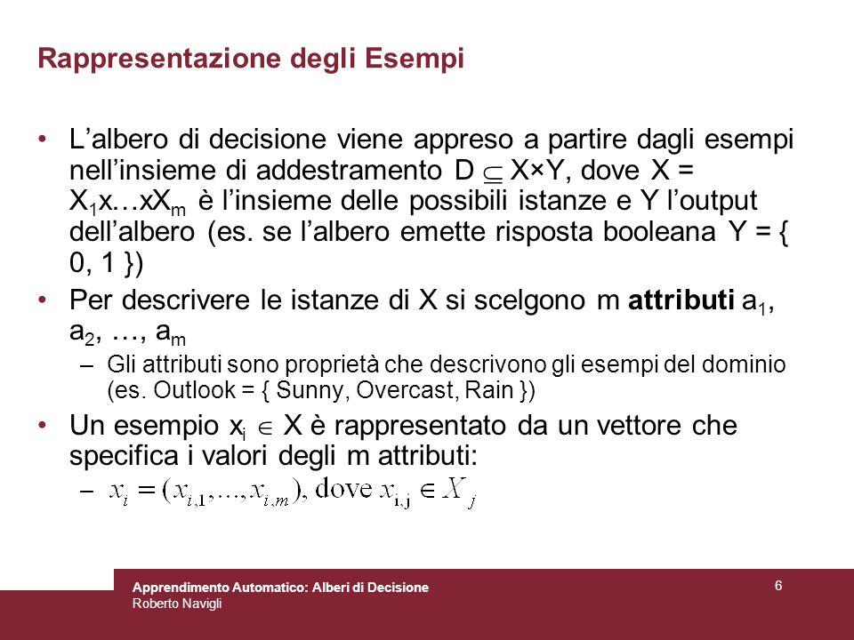 Apprendimento Automatico: Alberi di Decisione Roberto Navigli 37 Esempio 2 D contiene 14 esempi così ripartiti: [9+,5-] => H(D)=0,940 Due attributi: humidity = {high,normal}, wind = {weak,strong} Quale preferire.