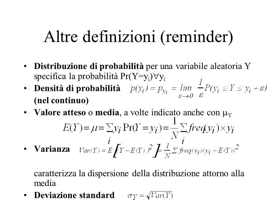 Altre definizioni (reminder) Distribuzione di probabilità per una variabile aleatoria Y specifica la probabilità Pr(Y=y i ) y i Densità di probabilità