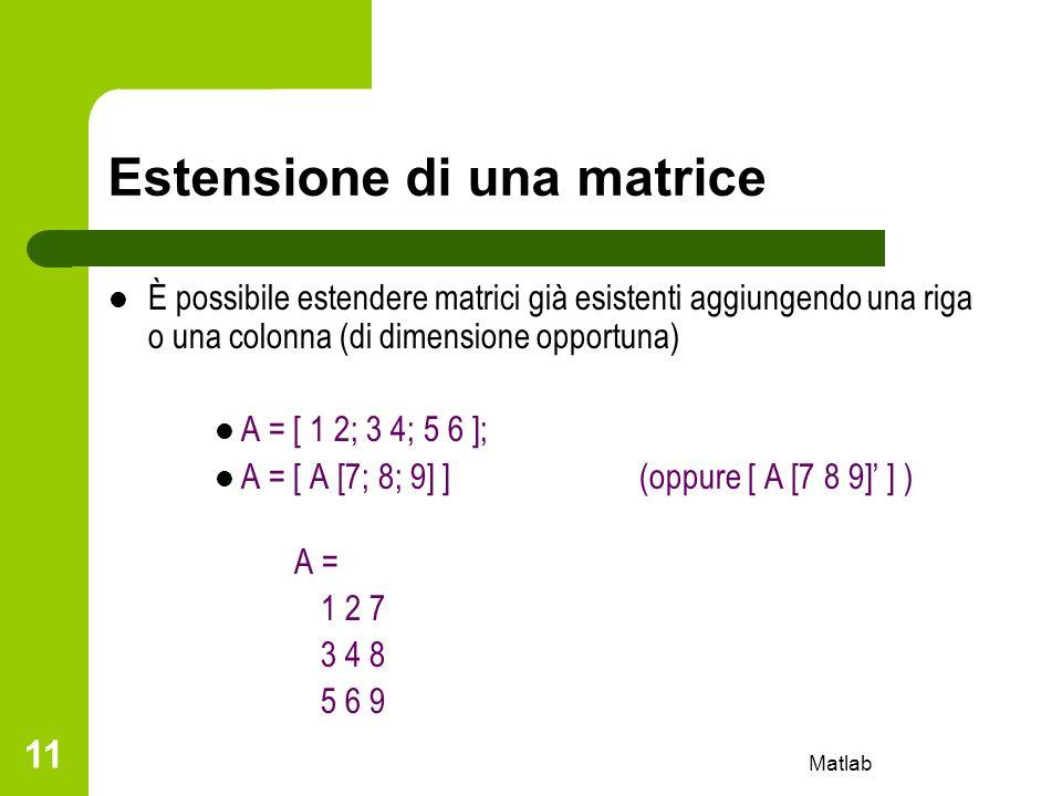 Matlab 11 Estensione di una matrice È possibile estendere matrici già esistenti aggiungendo una riga o una colonna (di dimensione opportuna) A = [ 1 2