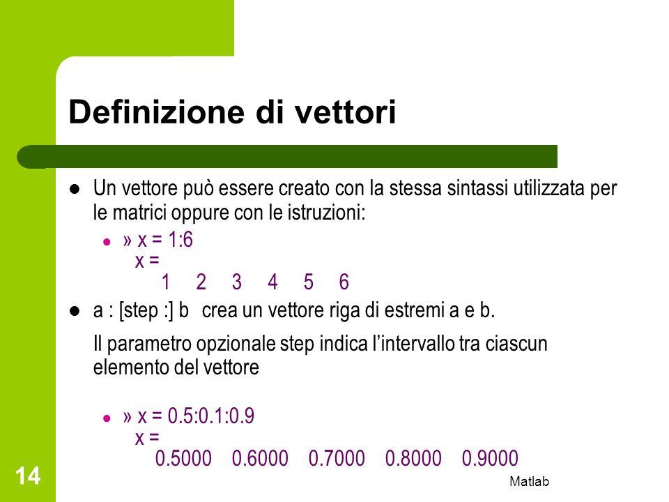 Matlab 14 Definizione di vettori Un vettore può essere creato con la stessa sintassi utilizzata per le matrici oppure con le istruzioni: » x = 1:6 x =
