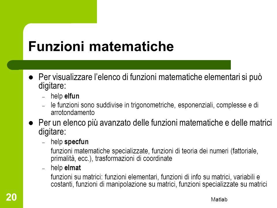 Matlab 20 Funzioni matematiche Per visualizzare lelenco di funzioni matematiche elementari si può digitare: – help elfun – le funzioni sono suddivise