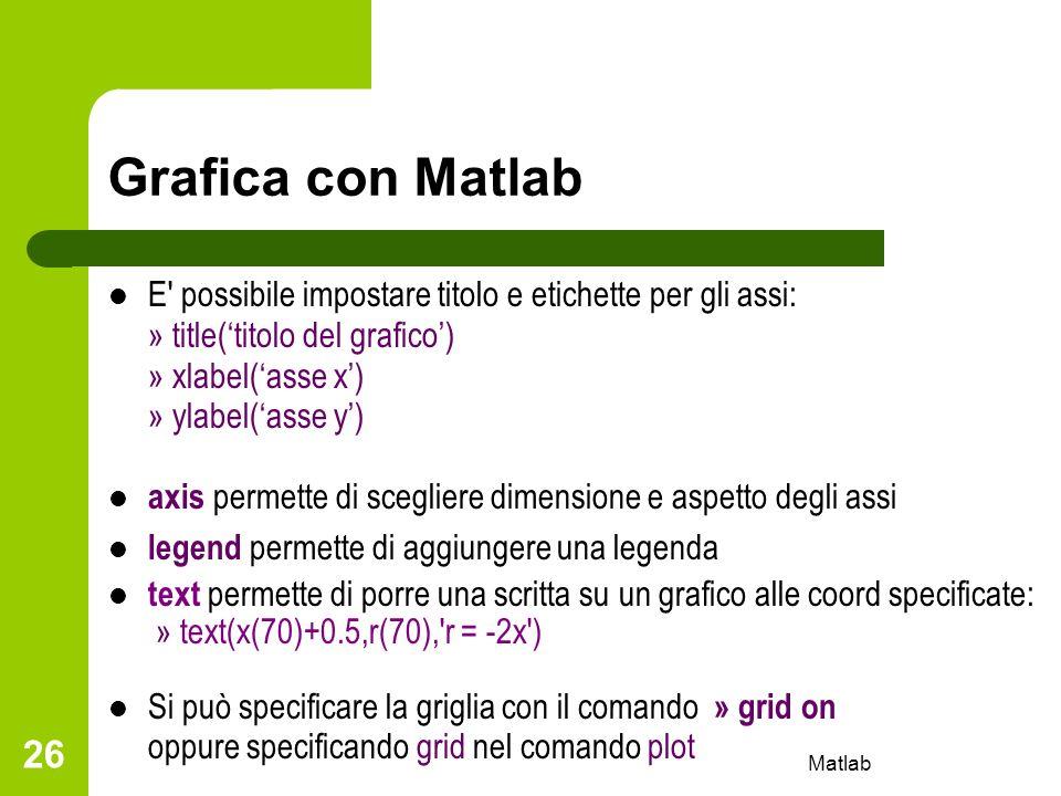 Matlab 26 Grafica con Matlab E' possibile impostare titolo e etichette per gli assi: » title(titolo del grafico) » xlabel(asse x) » ylabel(asse y) axi