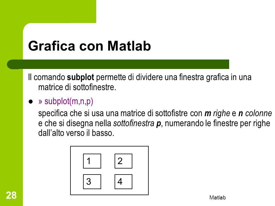 Matlab 28 Grafica con Matlab Il comando subplot permette di dividere una finestra grafica in una matrice di sottofinestre. » subplot(m,n,p) specifica