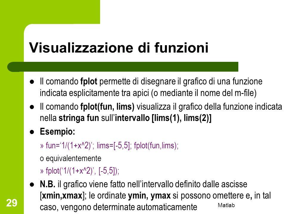 Matlab 29 Visualizzazione di funzioni Il comando fplot permette di disegnare il grafico di una funzione indicata esplicitamente tra apici (o mediante