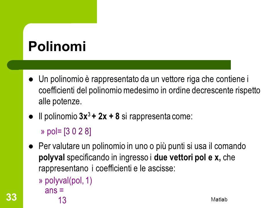 Matlab 33 Polinomi Un polinomio è rappresentato da un vettore riga che contiene i coefficienti del polinomio medesimo in ordine decrescente rispetto a