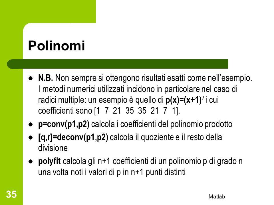 Polinomi N.B. Non sempre si ottengono risultati esatti come nellesempio. I metodi numerici utilizzati incidono in particolare nel caso di radici multi