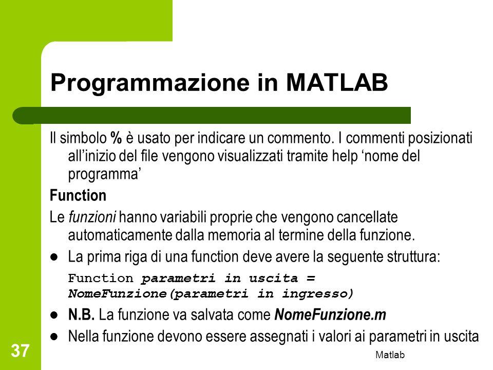 Matlab 37 Programmazione in MATLAB Il simbolo % è usato per indicare un commento. I commenti posizionati allinizio del file vengono visualizzati trami