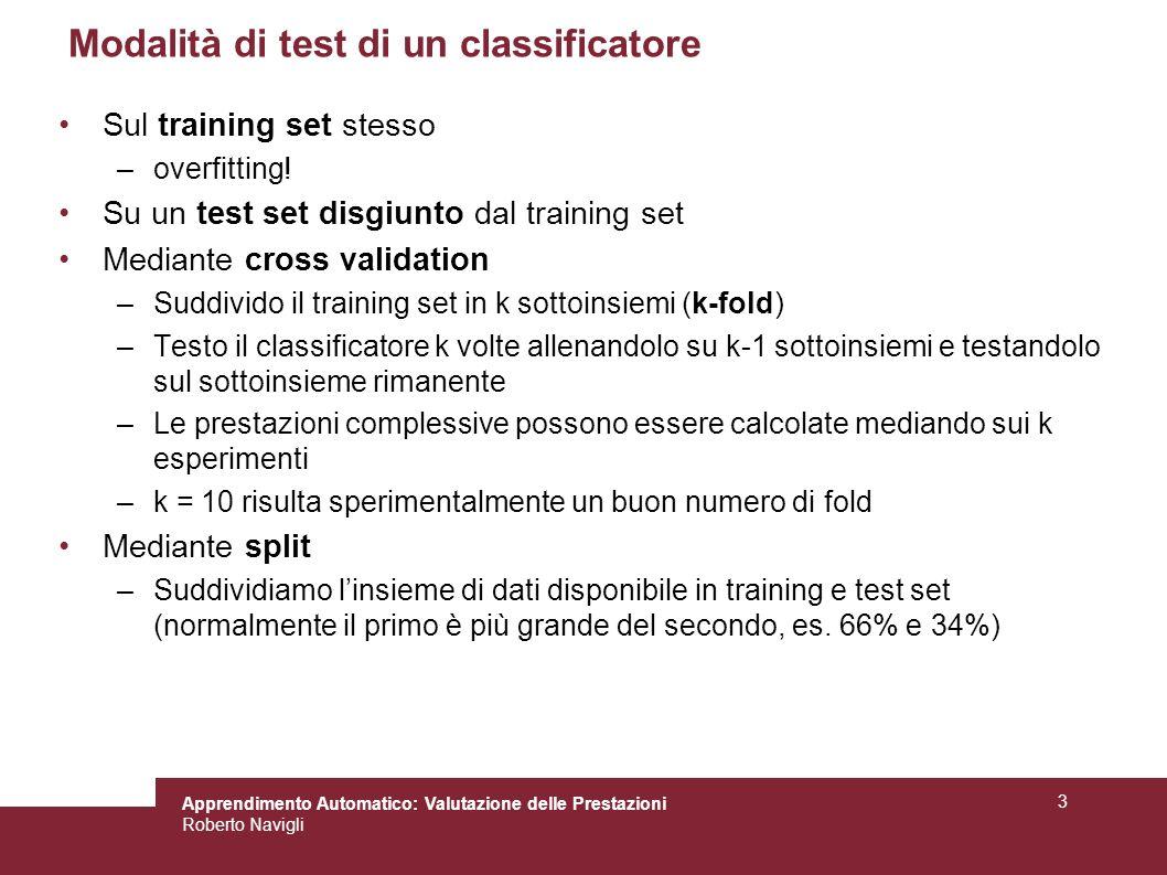 Apprendimento Automatico: Valutazione delle Prestazioni Roberto Navigli 3 Modalità di test di un classificatore Sul training set stesso –overfitting!