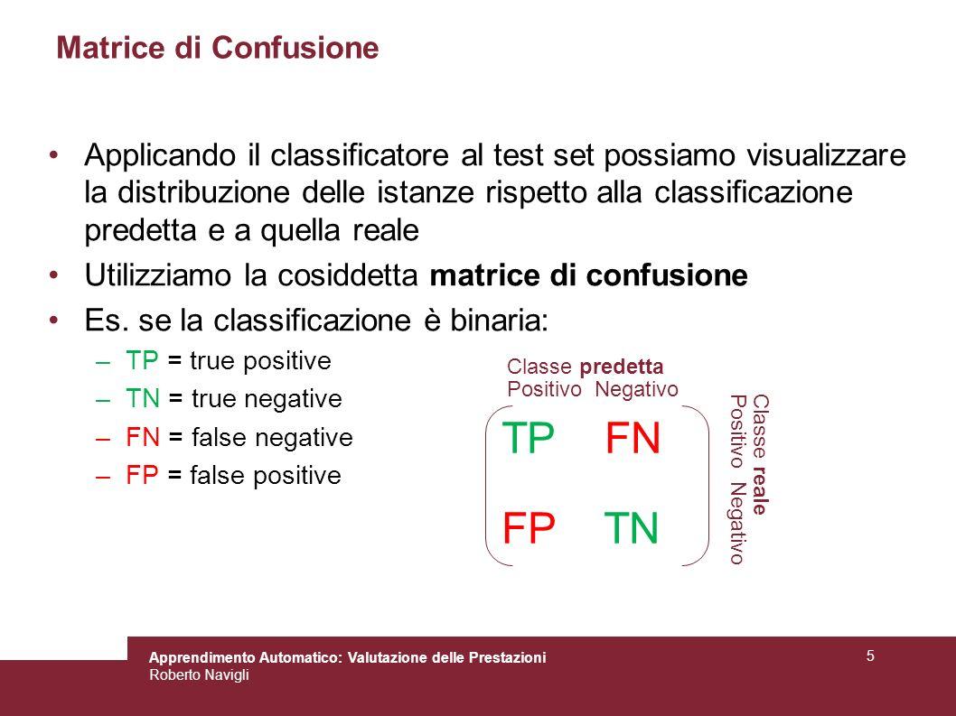 Apprendimento Automatico: Valutazione delle Prestazioni Roberto Navigli 5 Matrice di Confusione Applicando il classificatore al test set possiamo visu