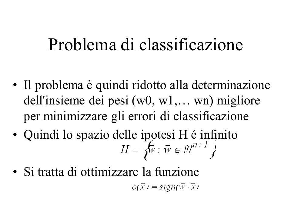 Problema di classificazione Il problema è quindi ridotto alla determinazione dell'insieme dei pesi (w0, w1,… wn) migliore per minimizzare gli errori d