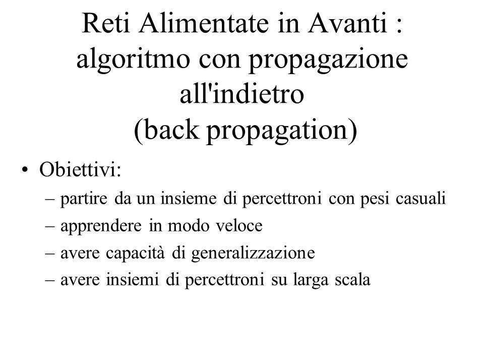 Reti Alimentate in Avanti : algoritmo con propagazione all'indietro (back propagation) Obiettivi: –partire da un insieme di percettroni con pesi casua