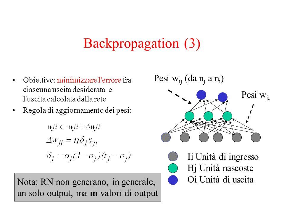Backpropagation (3) Obiettivo: minimizzare l'errore fra ciascuna uscita desiderata e l'uscita calcolata dalla rete Regola di aggiornamento dei pesi: I