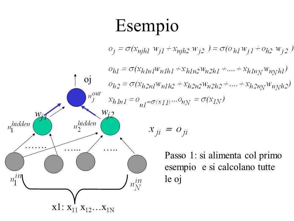 Esempio oj w j1 w j2 ……. …..…... Passo 1: si alimenta col primo esempio e si calcolano tutte le oj x1: x 11 x 12 …x 1N