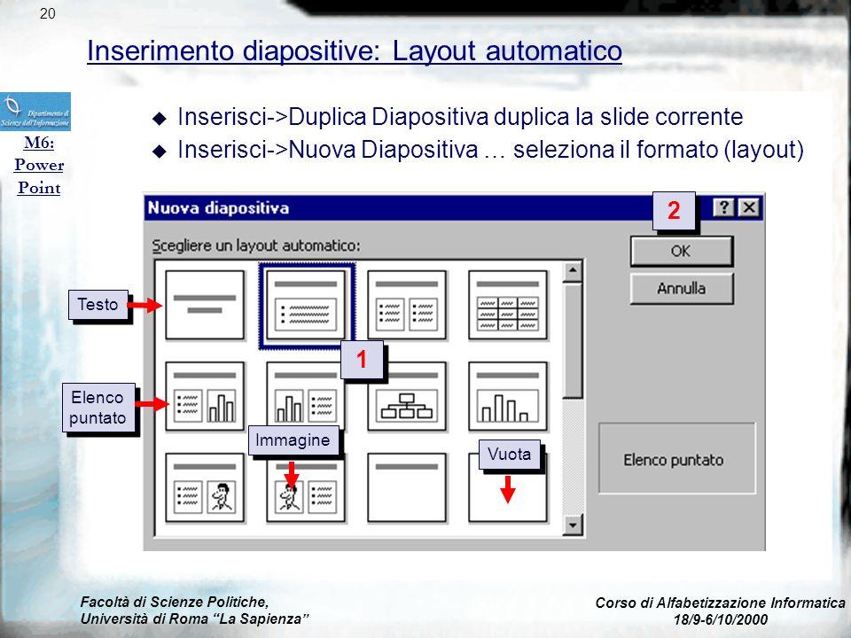 Facoltà di Scienze Politiche, Università di Roma La Sapienza Corso di Alfabetizzazione Informatica 18/9-6/10/2000 Gestione documenti: visualizzazione