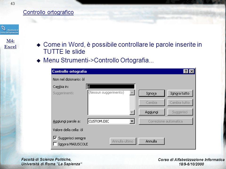 Facoltà di Scienze Politiche, Università di Roma La Sapienza Corso di Alfabetizzazione Informatica 18/9-6/10/2000 Effetti Speciali: transizioni M6: Po