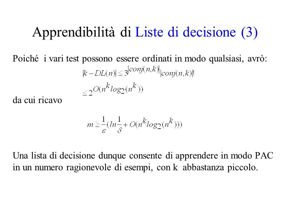 Apprendibilità di Liste di decisione (3) Poiché i vari test possono essere ordinati in modo qualsiasi, avrò: da cui ricavo Una lista di decisione dunq