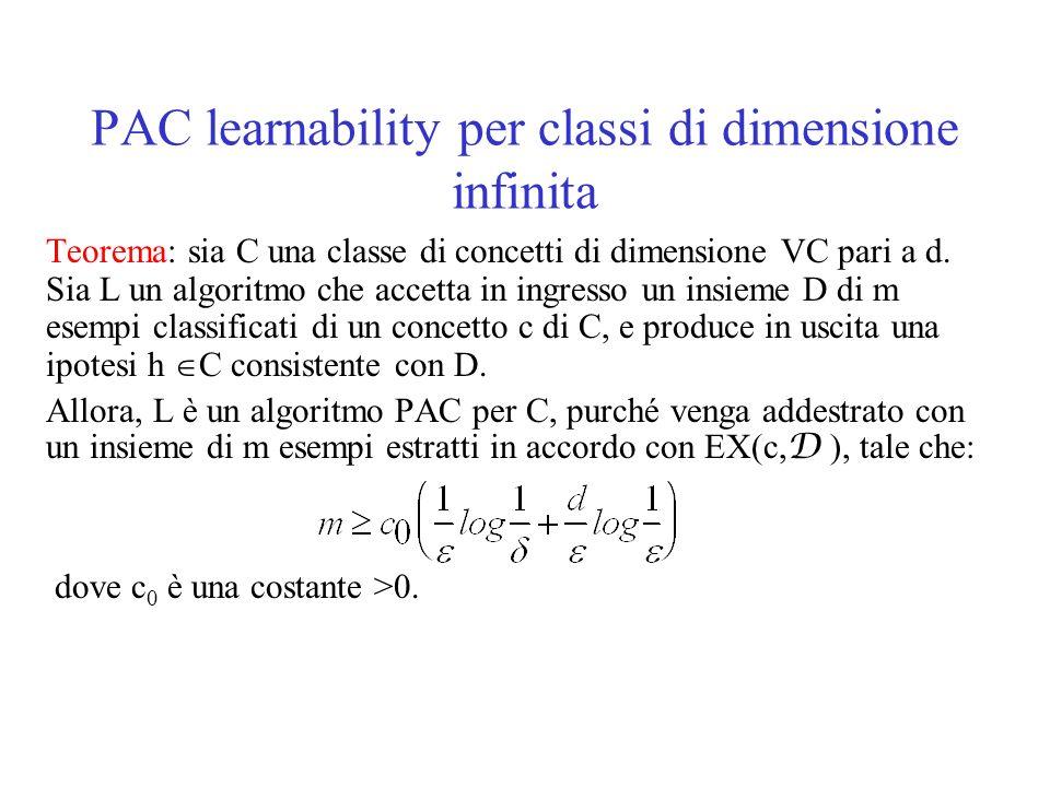 PAC learnability per classi di dimensione infinita Teorema: sia C una classe di concetti di dimensione VC pari a d. Sia L un algoritmo che accetta in