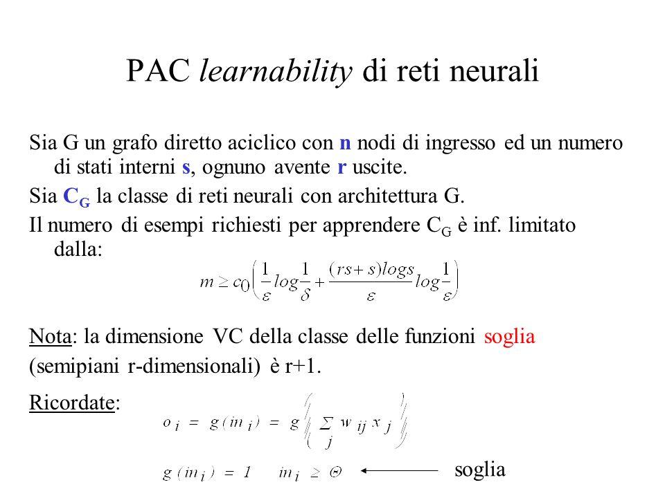 PAC learnability di reti neurali Sia G un grafo diretto aciclico con n nodi di ingresso ed un numero di stati interni s, ognuno avente r uscite. Sia C