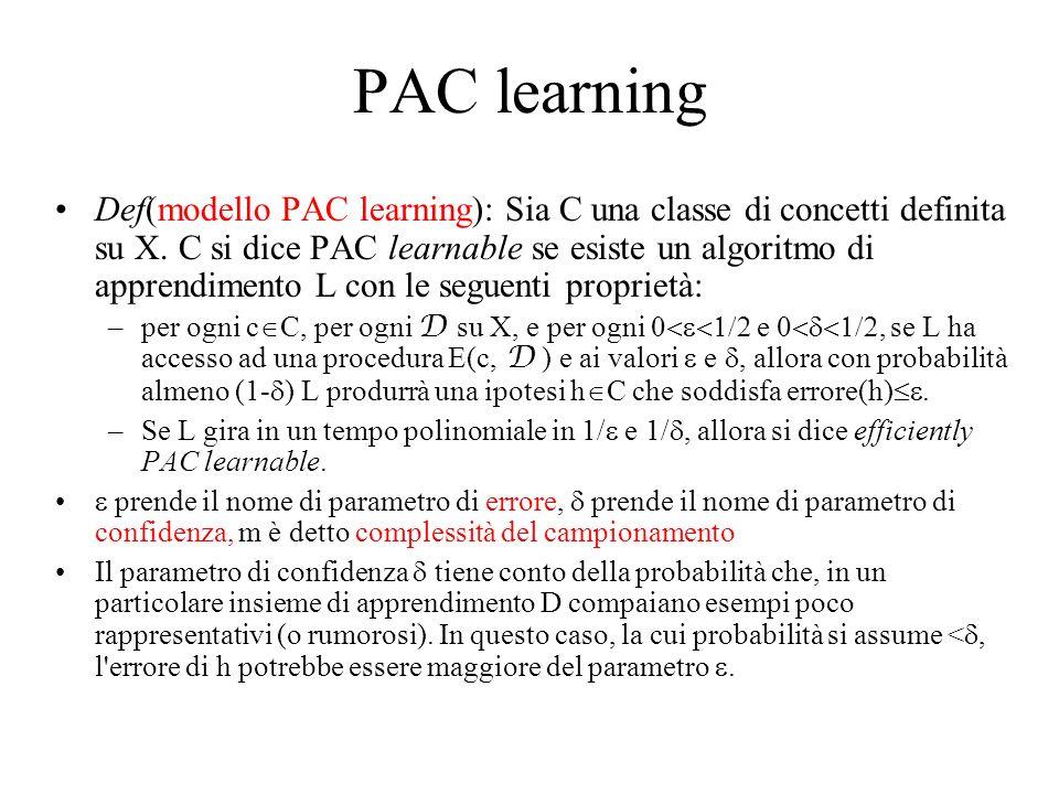 PAC learning Def(modello PAC learning): Sia C una classe di concetti definita su X. C si dice PAC learnable se esiste un algoritmo di apprendimento L