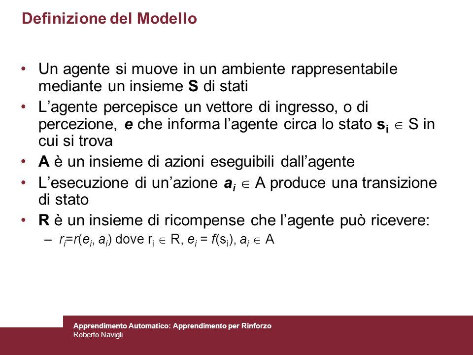 Apprendimento Automatico: Apprendimento per Rinforzo Roberto Navigli Definizione del Modello Un agente si muove in un ambiente rappresentabile mediant
