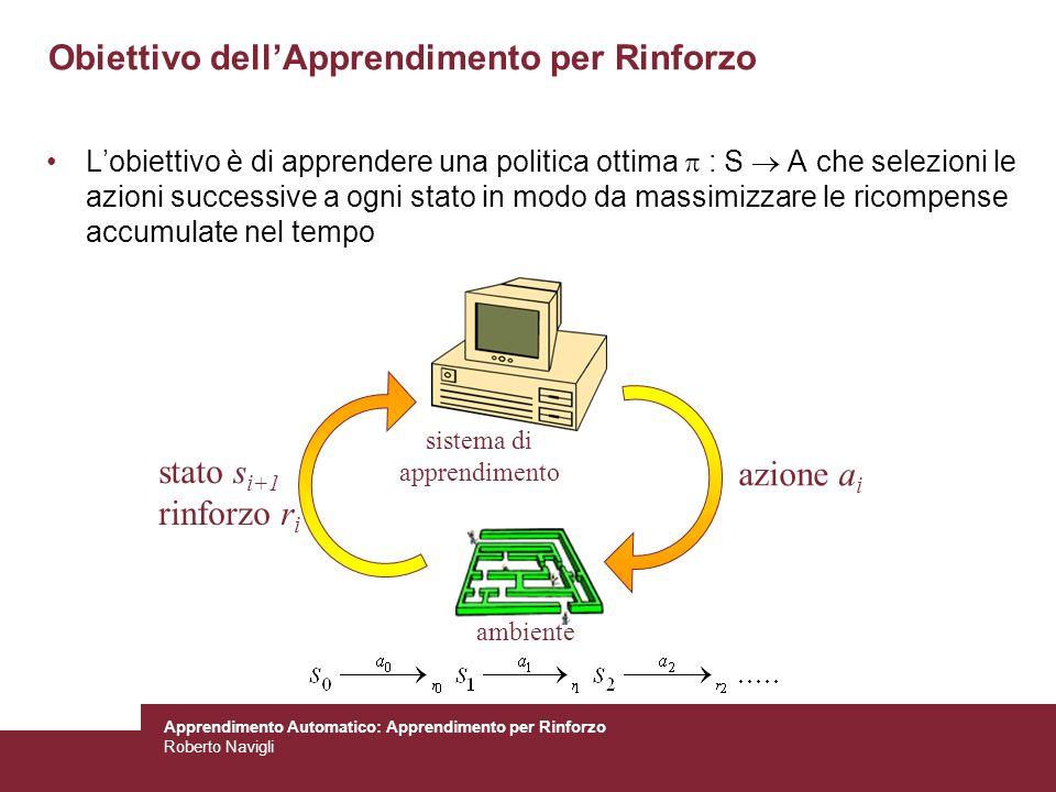 Apprendimento Automatico: Apprendimento per Rinforzo Roberto Navigli Obiettivo dellApprendimento per Rinforzo Lobiettivo è di apprendere una politica