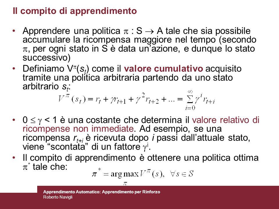Apprendimento Automatico: Apprendimento per Rinforzo Roberto Navigli Il compito di apprendimento Apprendere una politica : S A tale che sia possibile