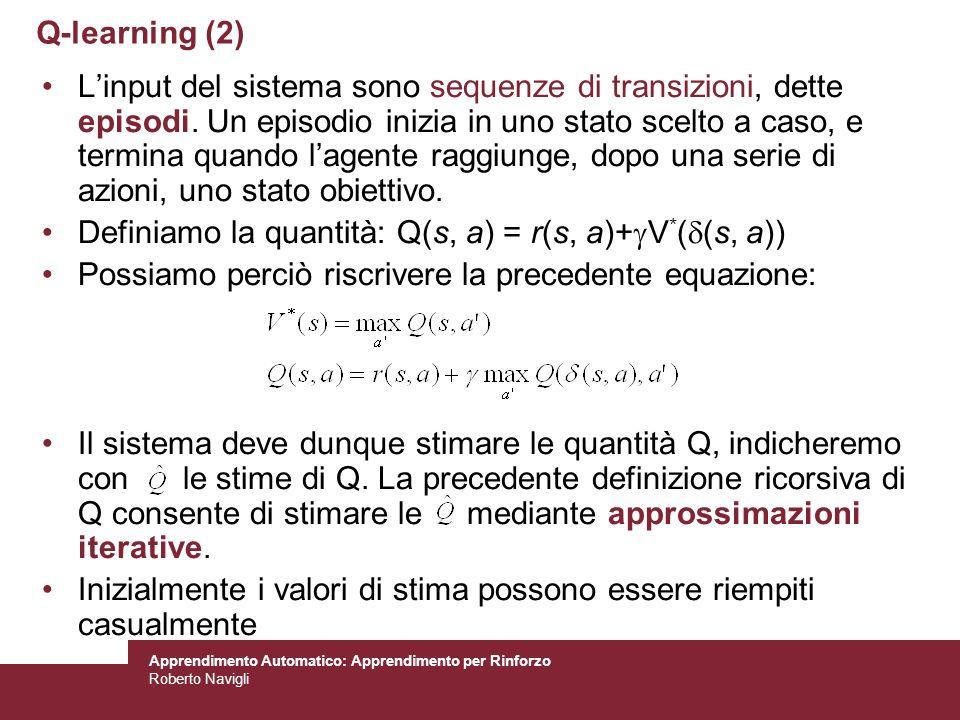 Apprendimento Automatico: Apprendimento per Rinforzo Roberto Navigli Linput del sistema sono sequenze di transizioni, dette episodi. Un episodio inizi