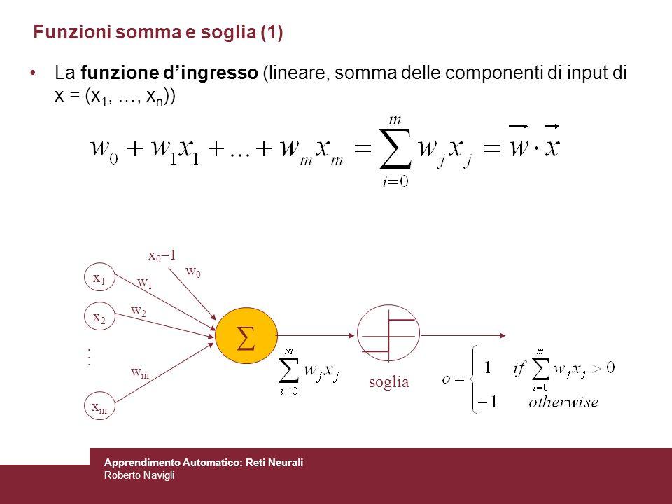 Apprendimento Automatico: Reti Neurali Roberto Navigli Funzioni somma e soglia (1) La funzione dingresso (lineare, somma delle componenti di input di