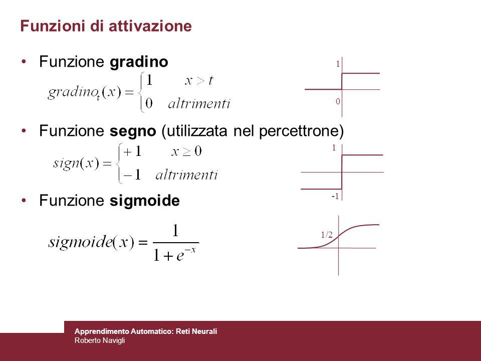 Apprendimento Automatico: Reti Neurali Roberto Navigli Funzioni di attivazione Funzione gradino Funzione segno (utilizzata nel percettrone) Funzione s