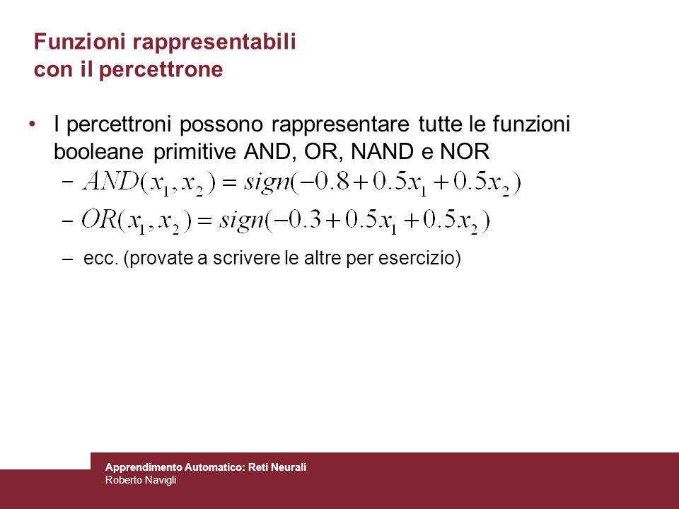 Apprendimento Automatico: Reti Neurali Roberto Navigli Funzioni rappresentabili con il percettrone I percettroni possono rappresentare tutte le funzio