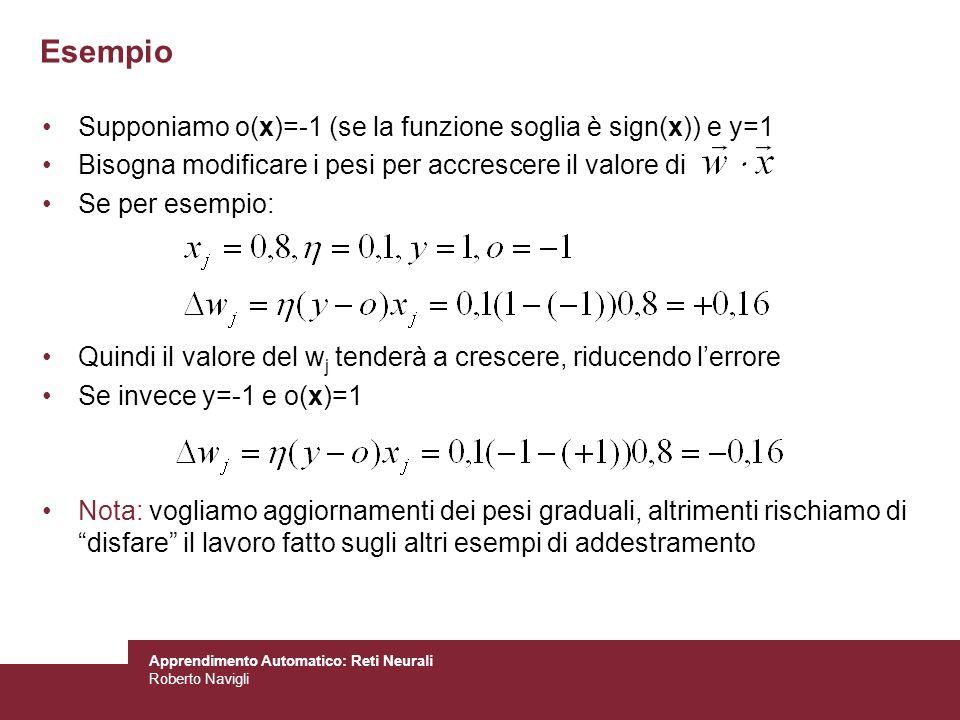 Apprendimento Automatico: Reti Neurali Roberto Navigli Esempio Supponiamo o(x)=-1 (se la funzione soglia è sign(x)) e y=1 Bisogna modificare i pesi pe