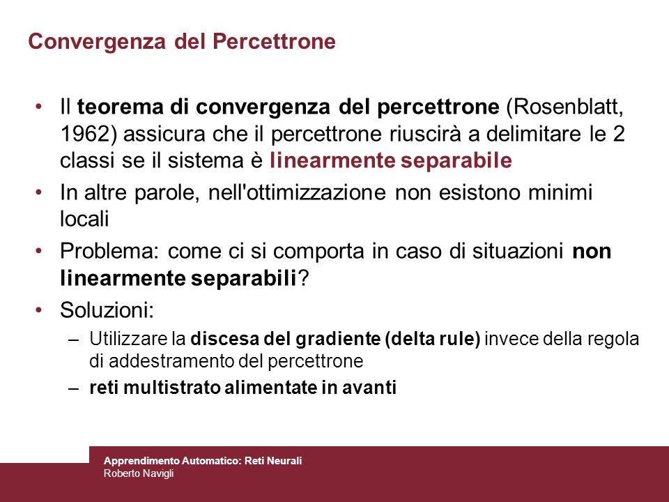 Apprendimento Automatico: Reti Neurali Roberto Navigli Convergenza del Percettrone Il teorema di convergenza del percettrone (Rosenblatt, 1962) assicu