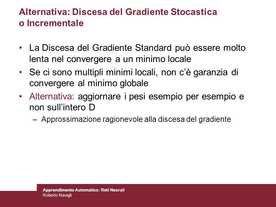 Apprendimento Automatico: Reti Neurali Roberto Navigli Alternativa: Discesa del Gradiente Stocastica o Incrementale La Discesa del Gradiente Standard
