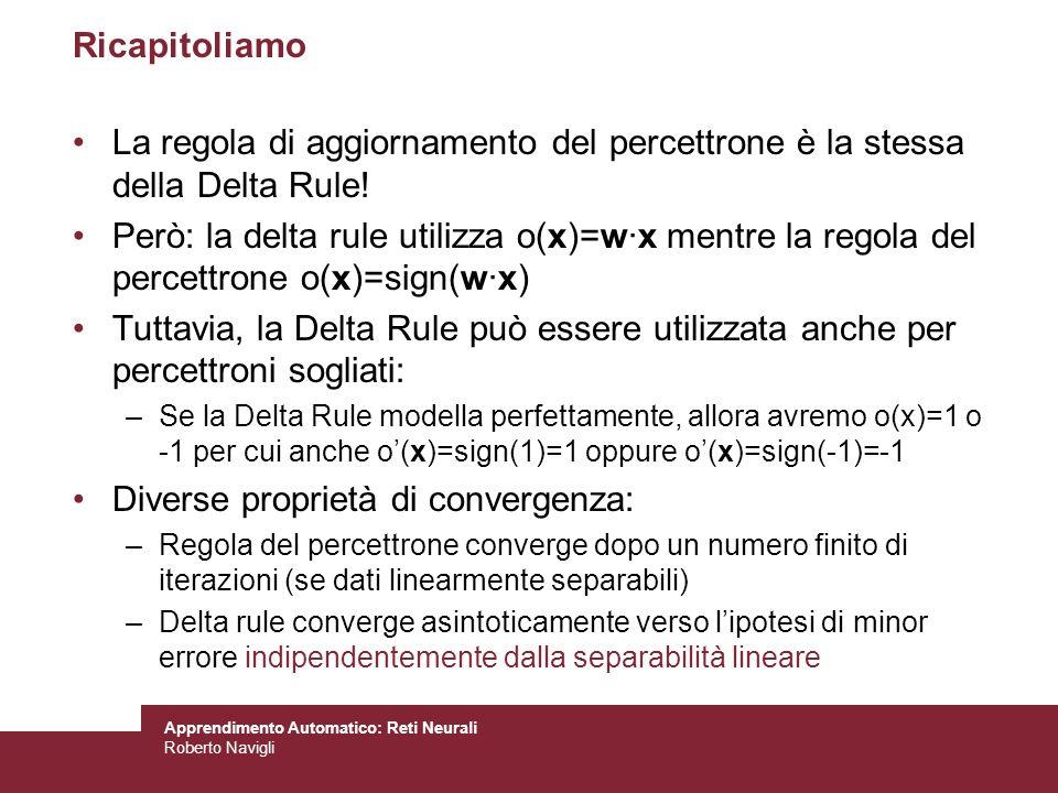 Apprendimento Automatico: Reti Neurali Roberto Navigli Ricapitoliamo La regola di aggiornamento del percettrone è la stessa della Delta Rule! Però: la